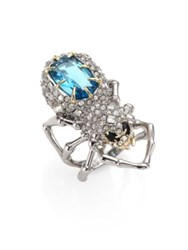 Alexis Bittar Elements Crystal Encrusted Spider Cocktail Ring Silver Blue