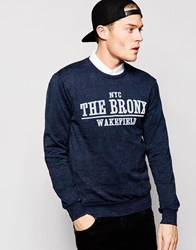Solid Burnout Sweatshirt With Bronx Flock Print Blue