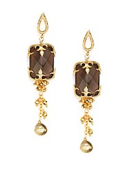 Azaara Smoky Topaz Chain Drop Earrings Goldtone Gold Multi