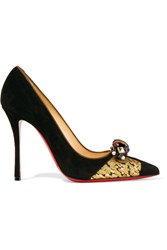 Christian Louboutin Tudor Net 100 Brocade Trimmed Embellished Suede Pumps Black