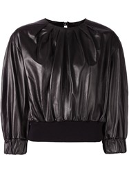 Drome Pleated Cropped Blouse Black