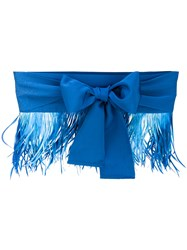 Sara Roka Feather Trim Bow Belt Women Cotton Viscose Feather M Blue