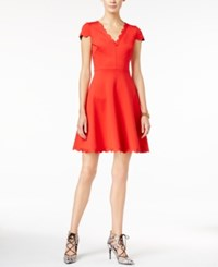Betsey Johnson Scalloped Fit And Flare Dress Coral