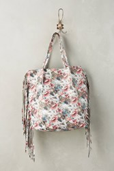 Anthropologie Fringefall Tote Red Motif
