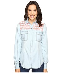Rock And Roll Cowgirl Long Sleeve Snap B4s7301 Blue Women's Clothing