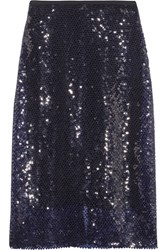Dion Lee Sequined Knitted Midi Skirt Midnight Blue