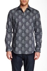 Perry Ellis Long Sleeve Geo Paisley Print Shirt Blue