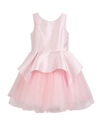 Zoe Pointed Peplum Matte Sateen Dress W Pleated Tulle Skirt Pink