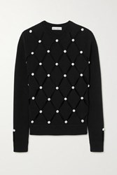 Paco Rabanne Crystal Embellished Cutout Merino Wool Sweater Black