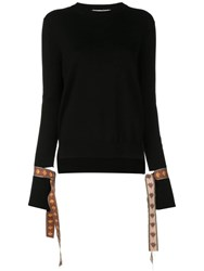 Oscar De La Renta Tied Cuffs Jumper Black