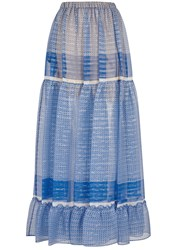 Stella Mccartney Printed Silk Chiffon Maxi Skirt Blue