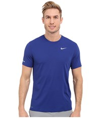 Nike Dri Fit Contour S S Shirt Deep Royal Blue Reflective Silver Men's T Shirt
