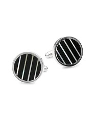 Saks Fifth Avenue Mother Of Pearl And Onyx Cufflinks Silvertone