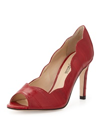 Neiman Marcus Morgen Peep Toe Pump Red
