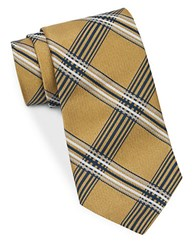 Brooks Brothers Plaid Silk Tie Gold
