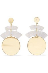 Elizabeth And James Gold Tone Resin Crystal Earrings Gold