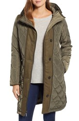 Kensie Button Side Quilted Jacket Olive