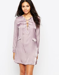 Neon Rose Tunic Dress With Lace Up Front Purple