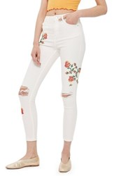 Topshop Women's Jamie Embroidered Skinny Jeans White Multi