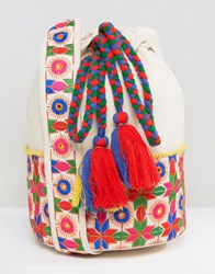Glamorous Drawstring Shoulder Bag With Floral Print Bright Multi