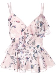 Marchesa Notte Floral Print Top Pink