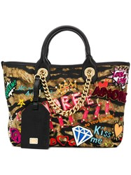 Dolce And Gabbana Patchwork Tote Bag Black