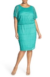Plus Size Women's London Times Rickrack Lace Blouson Dress Aqua