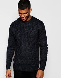 Blend Of America Blend Crew Jumper Melange Cable Knit Blue
