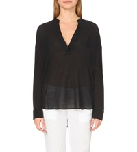 James Perse Chiffon Pullover Tunic Top Black