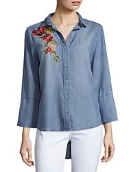 Saks Fifth Avenue Caddy Embroidered Denim Shirt Fade Out Blue