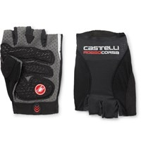 Castelli Rosso Corsa Pave Microsuede Trimmed Mesh Cycling Gloves Black