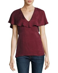 State Of Being Belle V Neck Ruffle Top Crimson