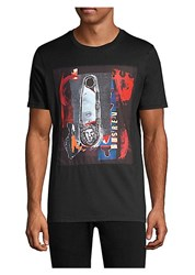 Versus By Versace Safety Pin Cotton Graphic Tee Black