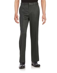 Dockers No Iron Straight Fit Flat Front Herringbone Dress Pant Charcoal