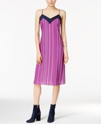 Armani Exchange Striped Slip Dress Berry Jam Stripe