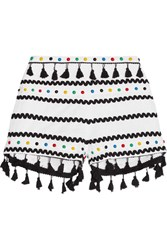 Dodo Bar Or Embellished Embroidered Cotton Gauze Shorts White