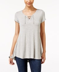 Pink Rose Juniors' Lace Up Tunic Top Light Heather Grey