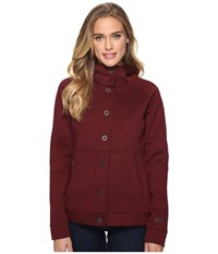 The North Face Neo Thermal Snap Hoodie Deep Garnet Red Black Heather Women's Sweatshirt