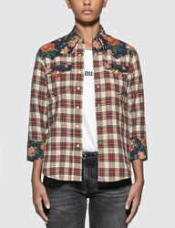 R 13 R13 Exaggerated Collar Cowboy Shirt Red