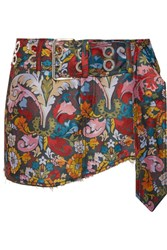 Marques' Almeida Frayed Floral Jacquard Mini Skirt Red