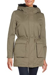 The Kooples Faux Fur Hooded Parka Jacket Khaki