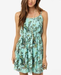 O'neill Juniors' Erica Printed Open Back Fit And Flare Dress Bright Green