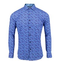 Lords Of Harlech Nigel Floral Print Shirt In Blue