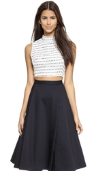 Re Named Striped Crop Top White Black