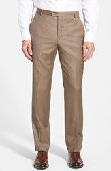 Men's Big And Tall Hickey Freeman 'B Series' Flat Front Wool Trousers Tan