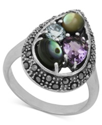 Genevieve And Grace Sterling Silver Ring Multistone Pear Cut Ring