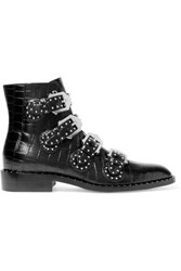 Givenchy Studded Ankle Boots In Black Croc Effect Glossed Leather