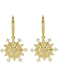 Cz By Kenneth Jay Lane Round Pierced Snowflake Earrings Gold