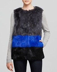 Jocelyn Long Hair Rabbit Fur Colorblocked Vest Bloomingdale's Exclusive