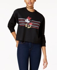 Disney Juniors' Minnie Mouse Cropped Graphic Sweatshirt Black